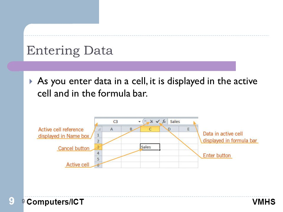 Computers/ICTVMHS Entering Data 9  As you enter data in a cell, it is displayed in the active cell and in the formula bar.
