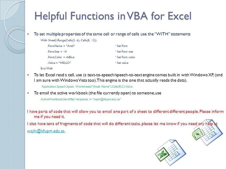 Advanced MS Excel using Visual Basic for Apps (VBA) Wajih