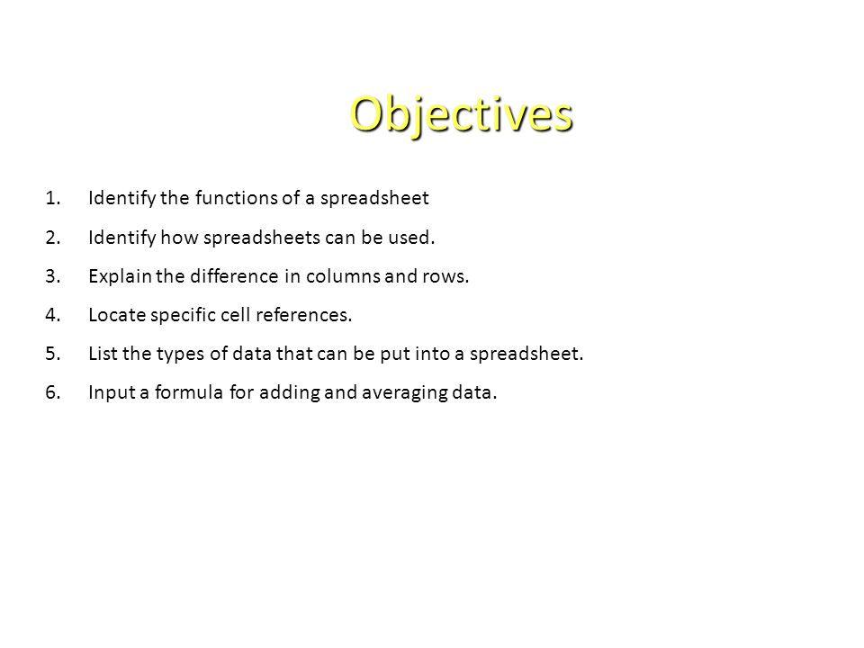 Objectives 1.Identify the functions of a spreadsheet 2.Identify how spreadsheets can be used.