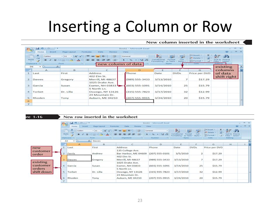 Inserting a Column or Row 23