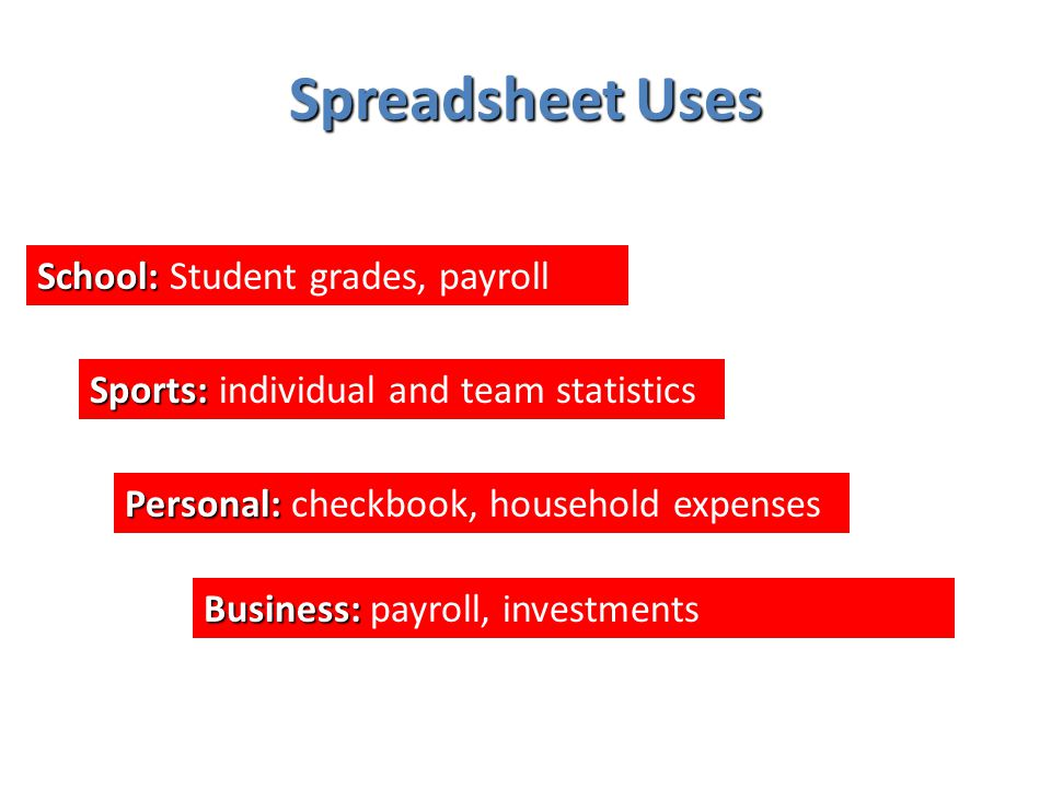 Spreadsheet Uses School: School: Student grades, payroll Sports: Sports: individual and team statistics Personal: Personal: checkbook, household expenses Business: Business: payroll, investments