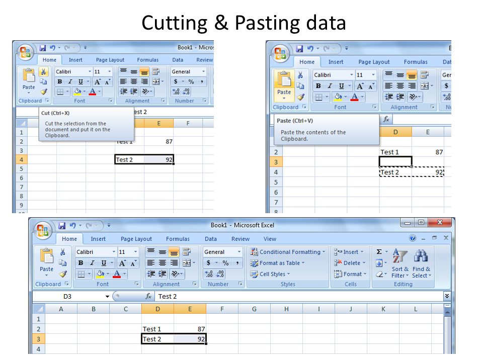 Cutting & Pasting data
