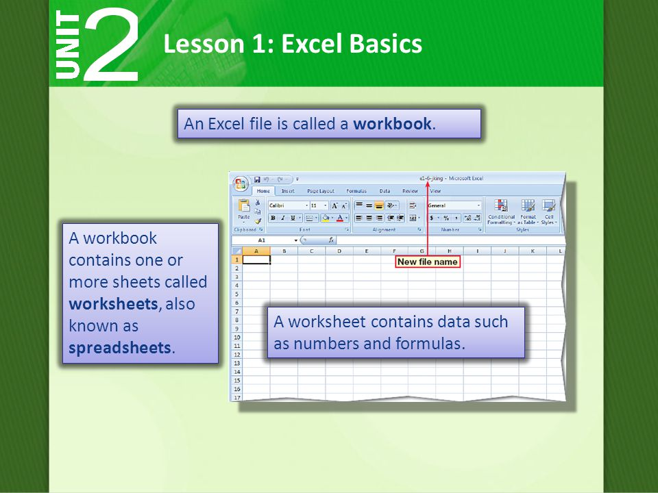 An Excel file is called a workbook.
