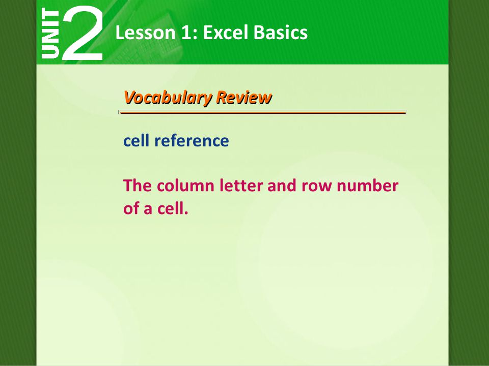 Lesson 1: Excel Basics Vocabulary Review cell reference The column letter and row number of a cell.