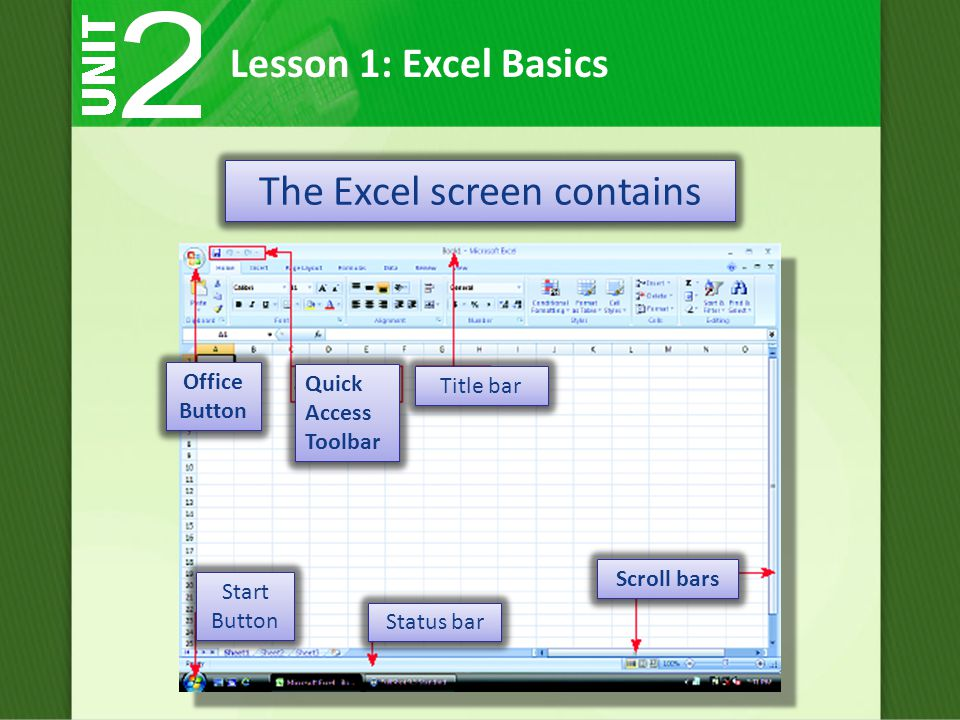 The Excel screen contains Lesson 1: Excel Basics Quick Access Toolbar Scroll bars Office Button Title bar Start Button Status bar