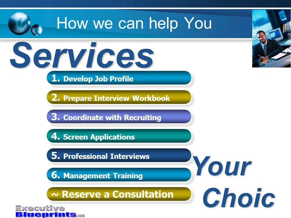 How we can help You 1. Develop Job Profile 1. Develop Job Profile 2.