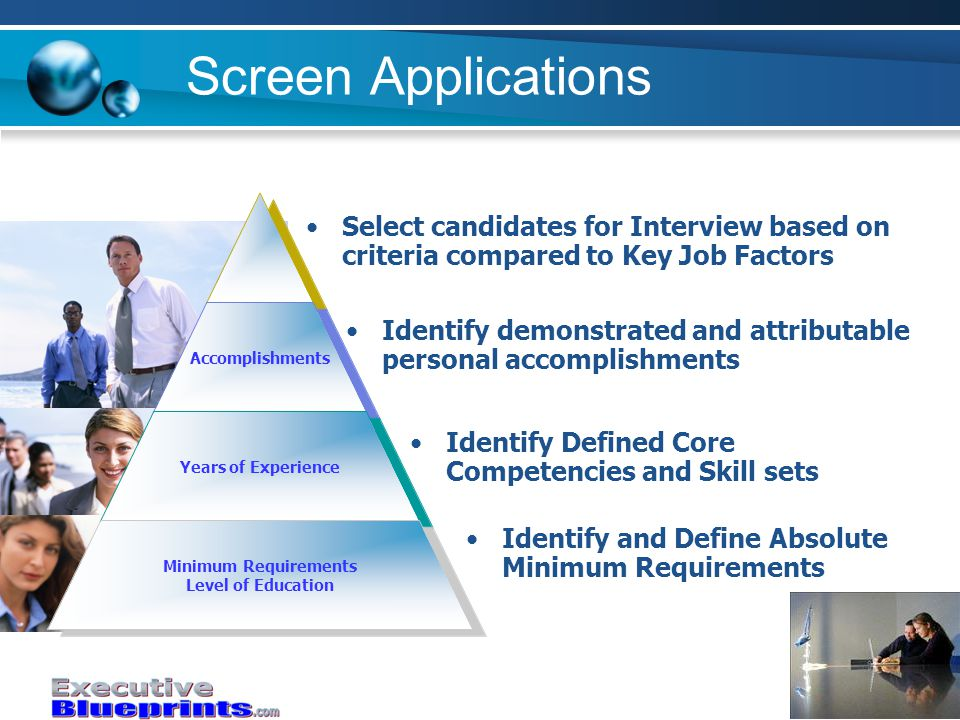 Screen Applications Accomplishments Years of Experience Minimum Requirements Level of Education Identify demonstrated and attributable personal accomplishments Identify Defined Core Competencies and Skill sets Identify and Define Absolute Minimum Requirements Select candidates for Interview based on criteria compared to Key Job Factors