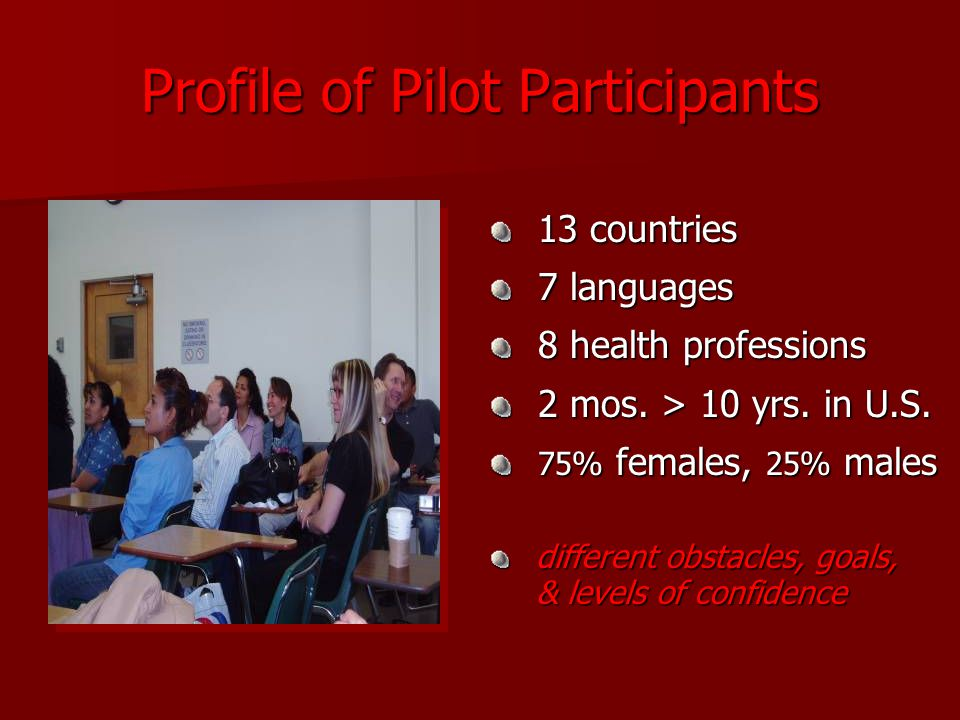 Profile of Pilot Participants 13 countries 13 countries 7 languages 7 languages 8 health professions 8 health professions 2 mos.