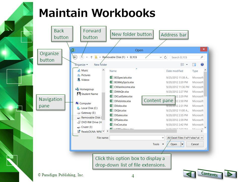 Paradigm Publishing, Inc Excel 2013 Level 1 Unit 2Enhancing
