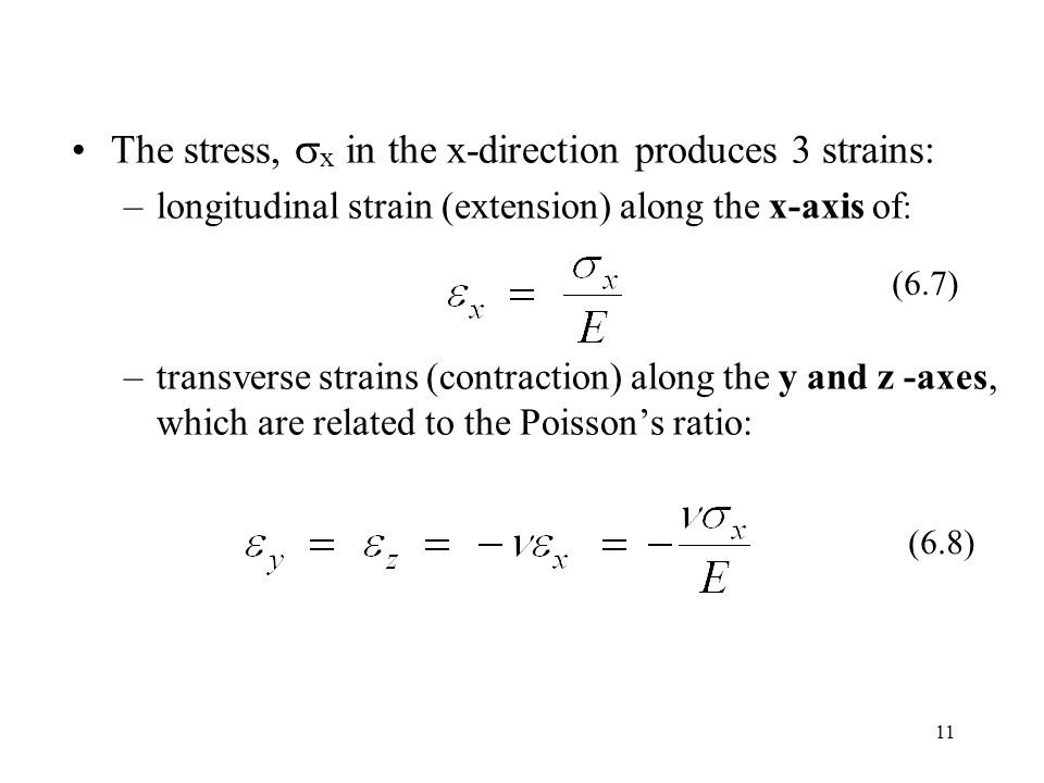 11 The stress,  x in the x-direction produces 3 strains: –longitudinal strain (extension) along the x-axis of : –transverse strains (contraction) along the y and z -axes, which are related to the Poisson's ratio: (6.7) (6.8)