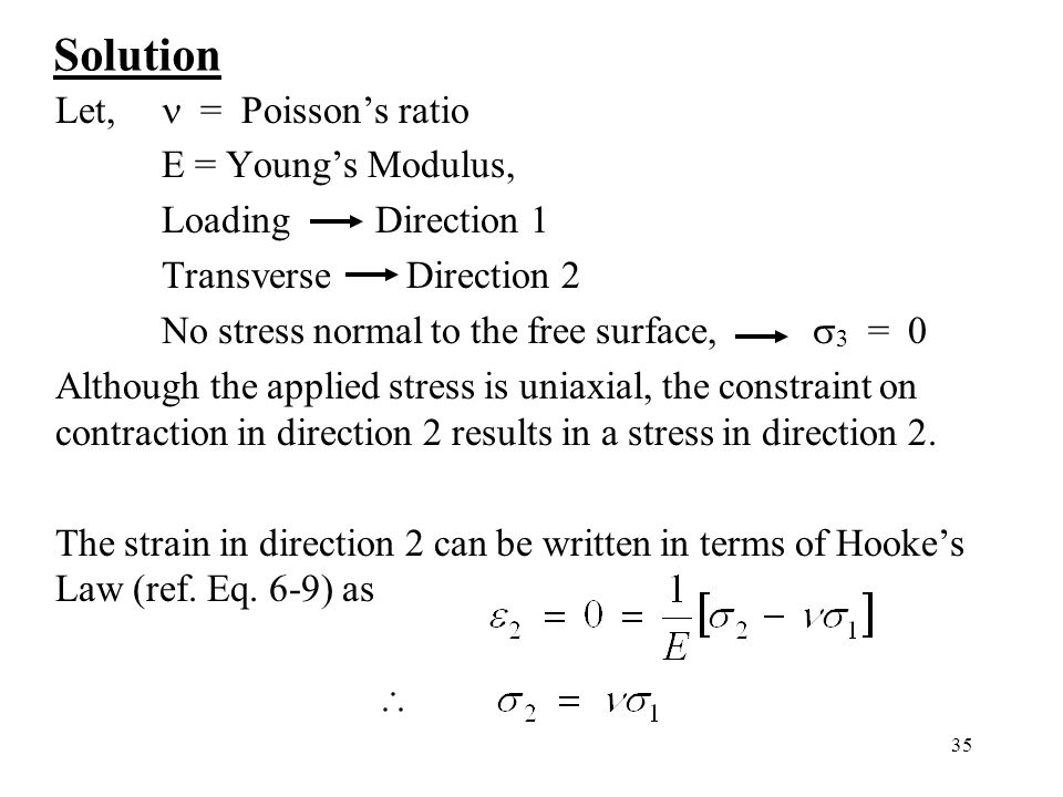 35 Solution Let, = Poisson's ratio E = Young's Modulus, Loading Direction 1 Transverse Direction 2 No stress normal to the free surface,  3 = 0 Although the applied stress is uniaxial, the constraint on contraction in direction 2 results in a stress in direction 2.