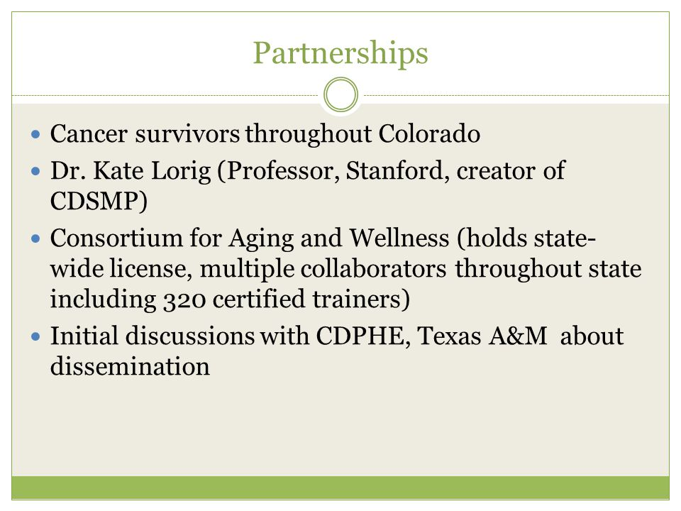 Partnerships Cancer survivors throughout Colorado Dr.