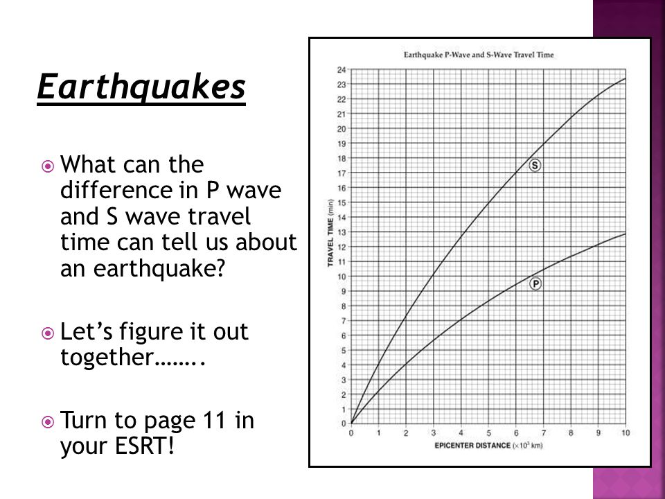  What can the difference in P wave and S wave travel time can tell us about an earthquake.