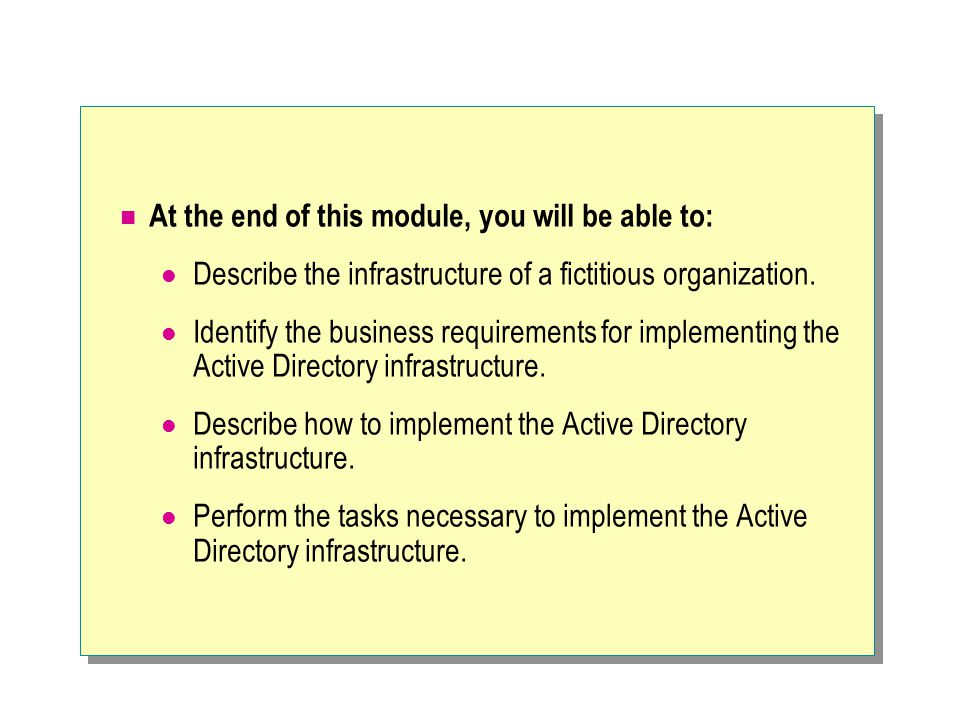 At the end of this module, you will be able to: Describe the infrastructure of a fictitious organization.