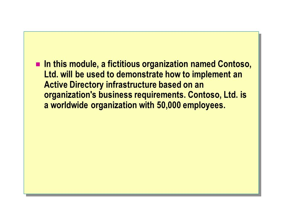 In this module, a fictitious organization named Contoso, Ltd.