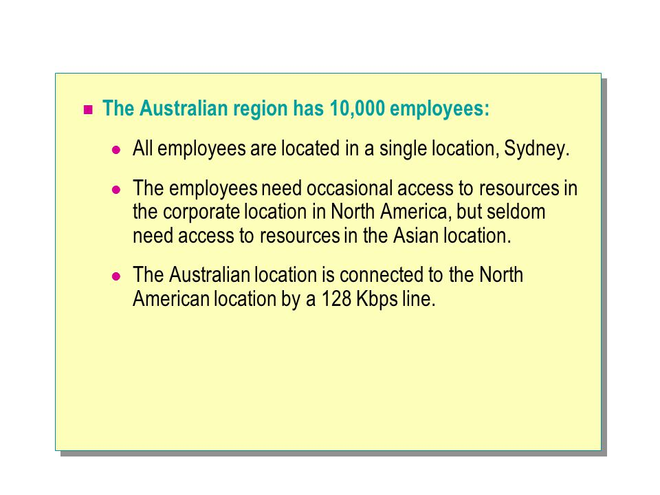 The Australian region has 10,000 employees: All employees are located in a single location, Sydney.