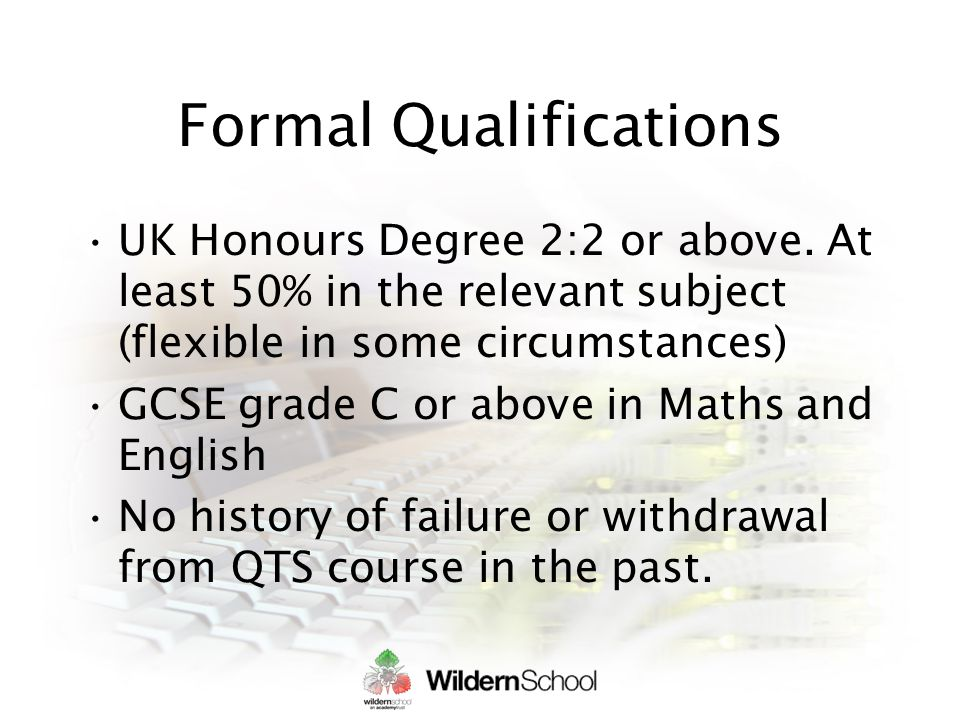 Formal Qualifications UK Honours Degree 2:2 or above.