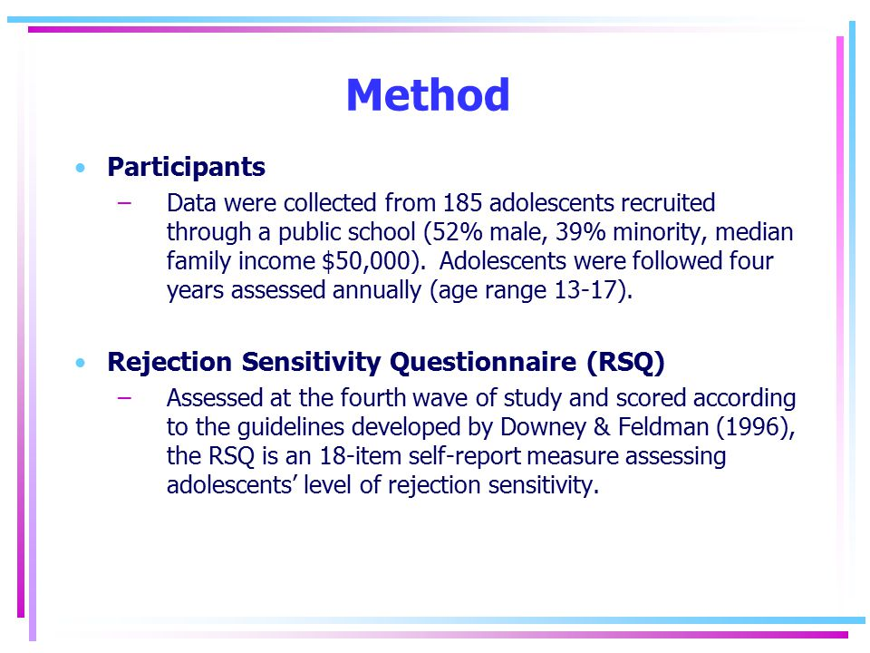 Method Participants –Data were collected from 185 adolescents recruited through a public school (52% male, 39% minority, median family income $50,000).
