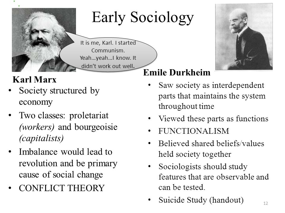 Early Sociology Karl Marx Society structured by economy Two classes: proletariat (workers) and bourgeoisie (capitalists) Imbalance would lead to revolution and be primary cause of social change CONFLICT THEORY Emile Durkheim Saw society as interdependent parts that maintains the system throughout time Viewed these parts as functions FUNCTIONALISM Believed shared beliefs/values held society together Sociologists should study features that are observable and can be tested.