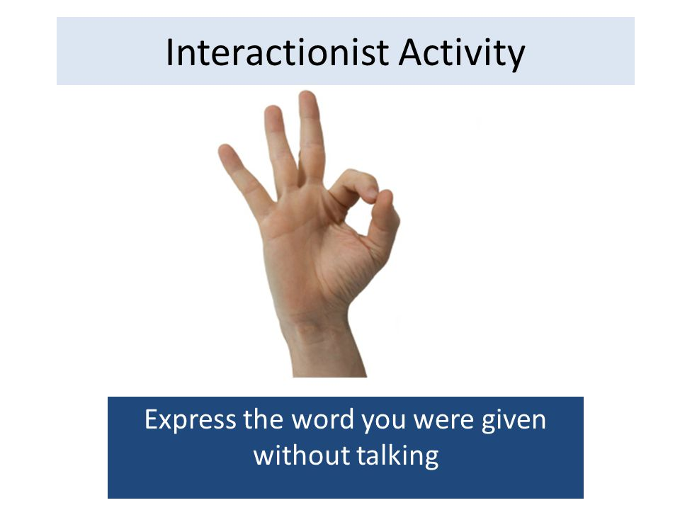 Interactionist Activity Express the word you were given without talking