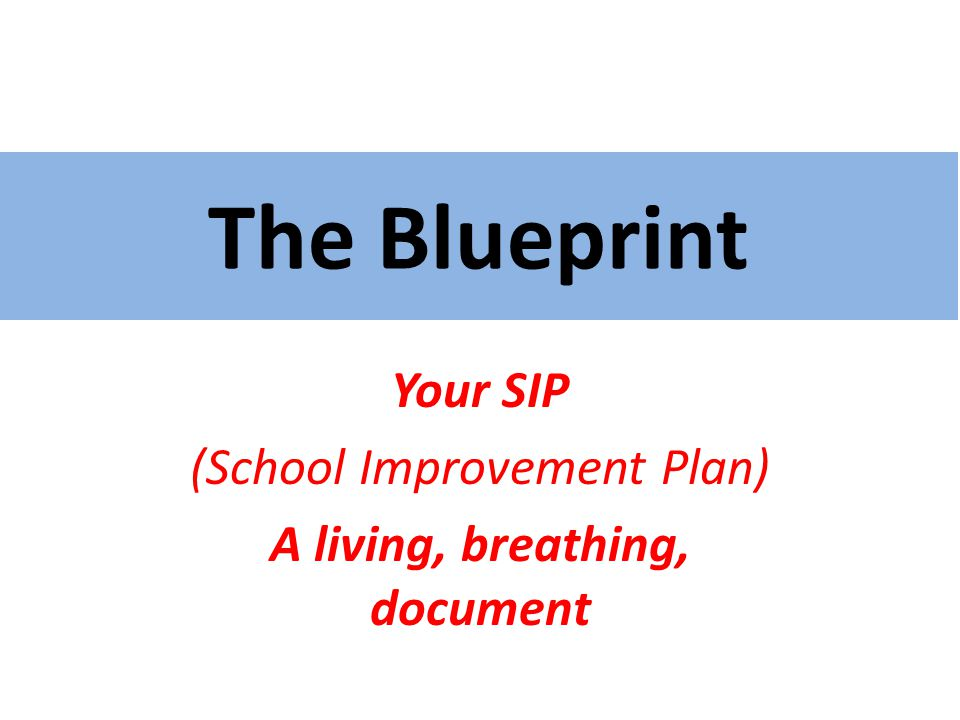 The Blueprint Your SIP (School Improvement Plan) A living, breathing, document