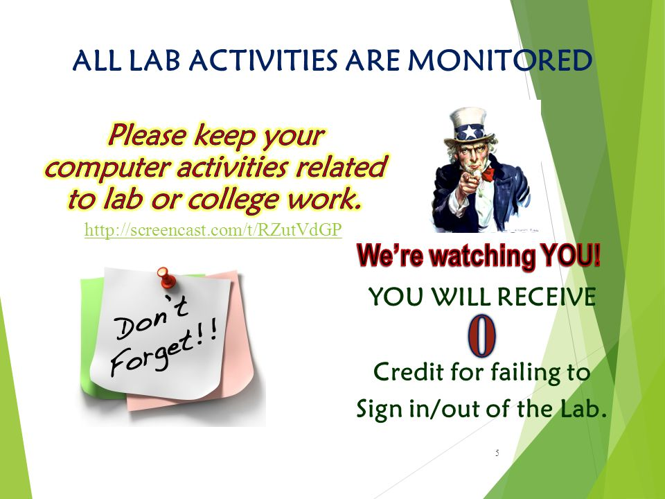 ALL LAB ACTIVITIES ARE MONITORED 5 YOU WILL RECEIVE Credit for failing to Sign in/out of the Lab.