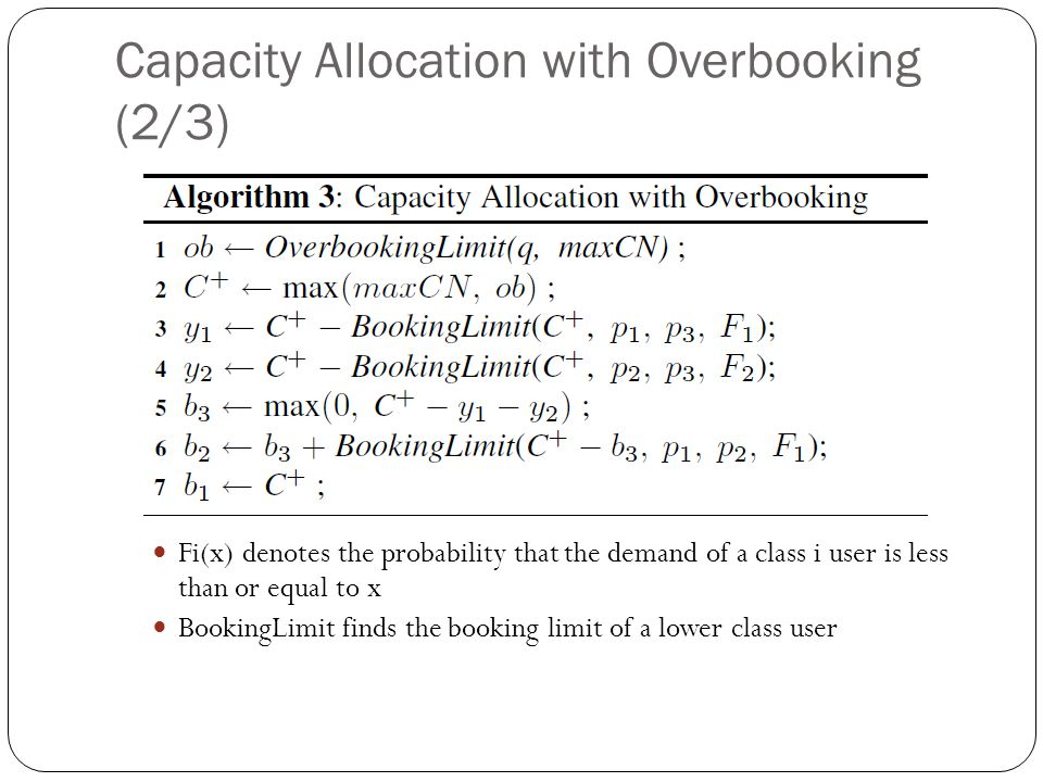 Capacity Allocation with Overbooking (2/3) Fi(x) denotes the probability that the demand of a class i user is less than or equal to x BookingLimit finds the booking limit of a lower class user