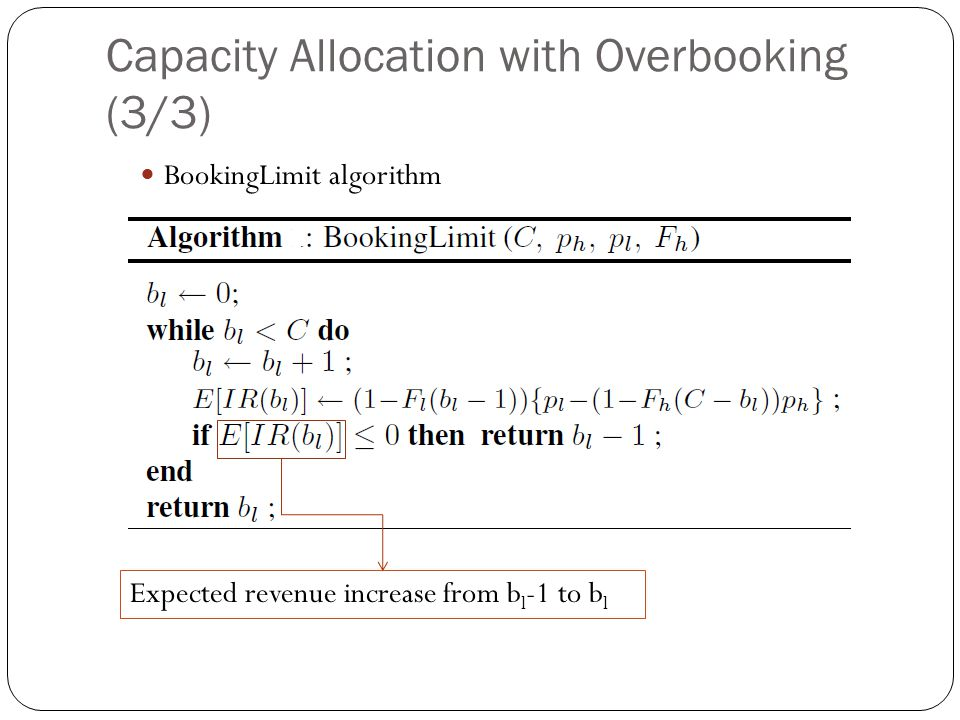 Capacity Allocation with Overbooking (3/3) BookingLimit algorithm Expected revenue increase from b l -1 to b l