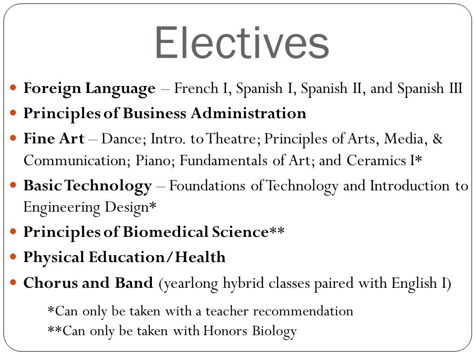 Electives Foreign Language – French I, Spanish I, Spanish II, and Spanish III Principles of Business Administration Fine Art – Dance; Intro.