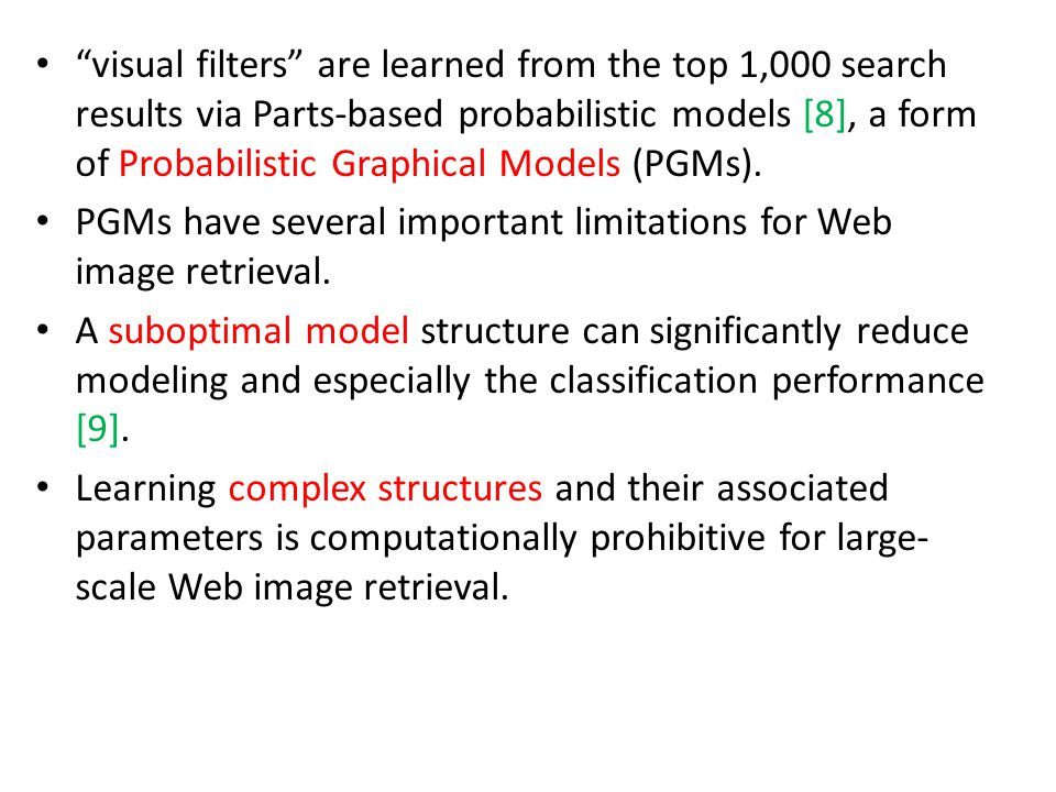 visual filters are learned from the top 1,000 search results via Parts-based probabilistic models [8], a form of Probabilistic Graphical Models (PGMs).