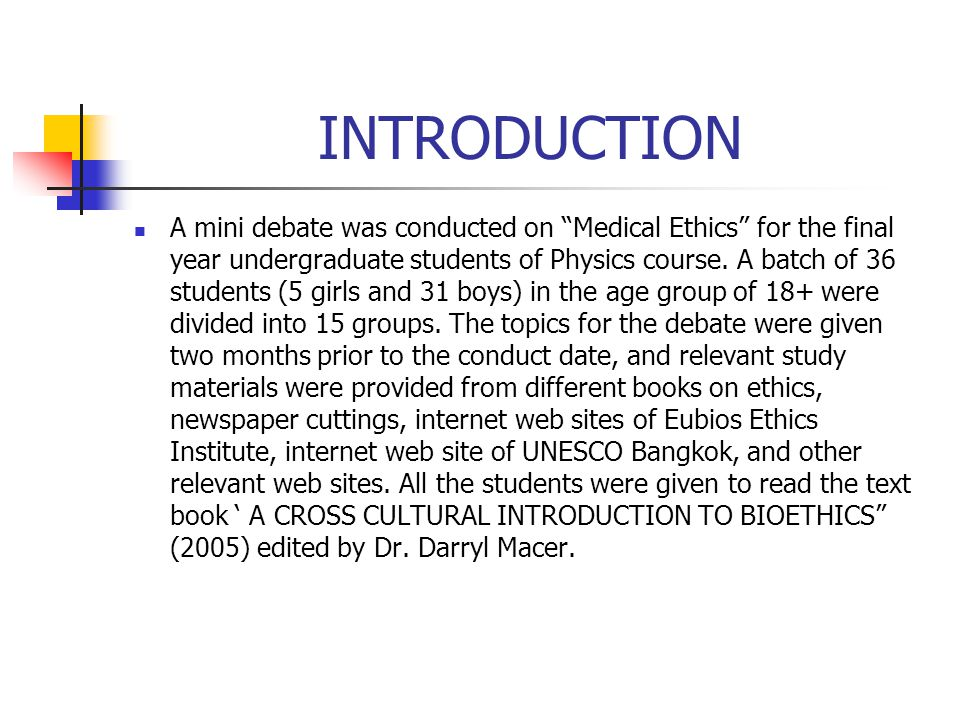 medical ethics topics for debate