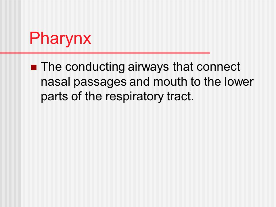 Pharynx The conducting airways that connect nasal passages and mouth to the lower parts of the respiratory tract.