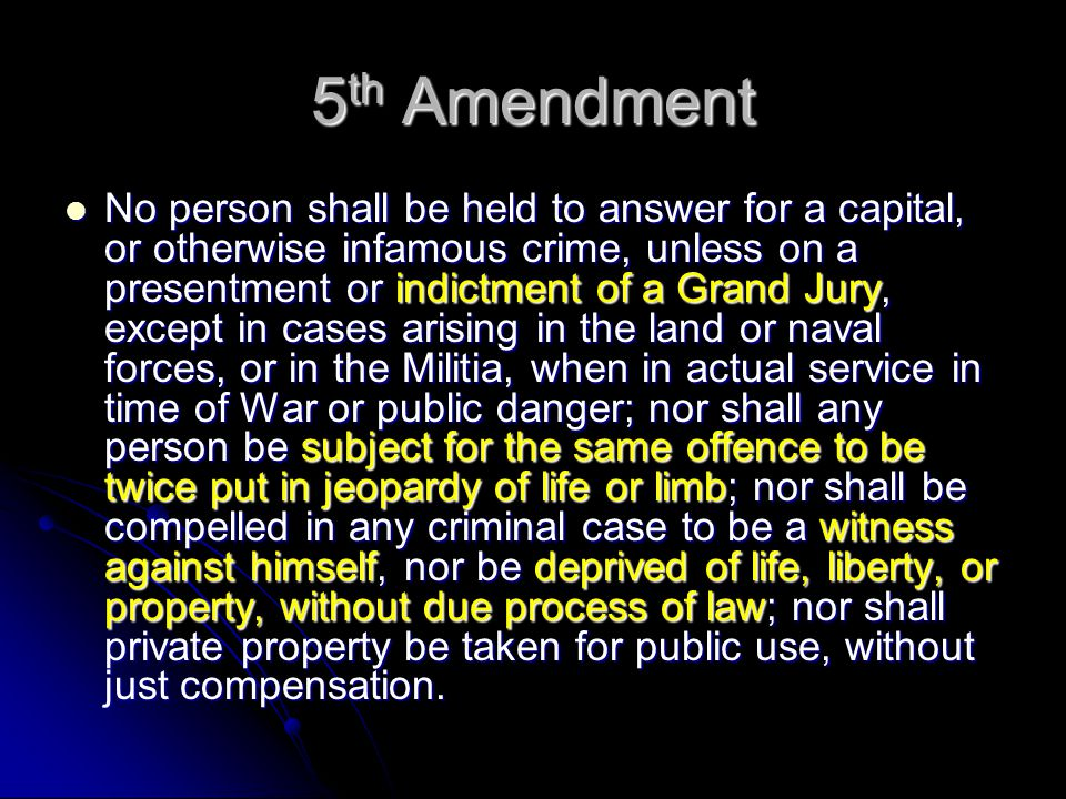 Rights of the Accused 5 th Amendment: Pre-Trial 6 th