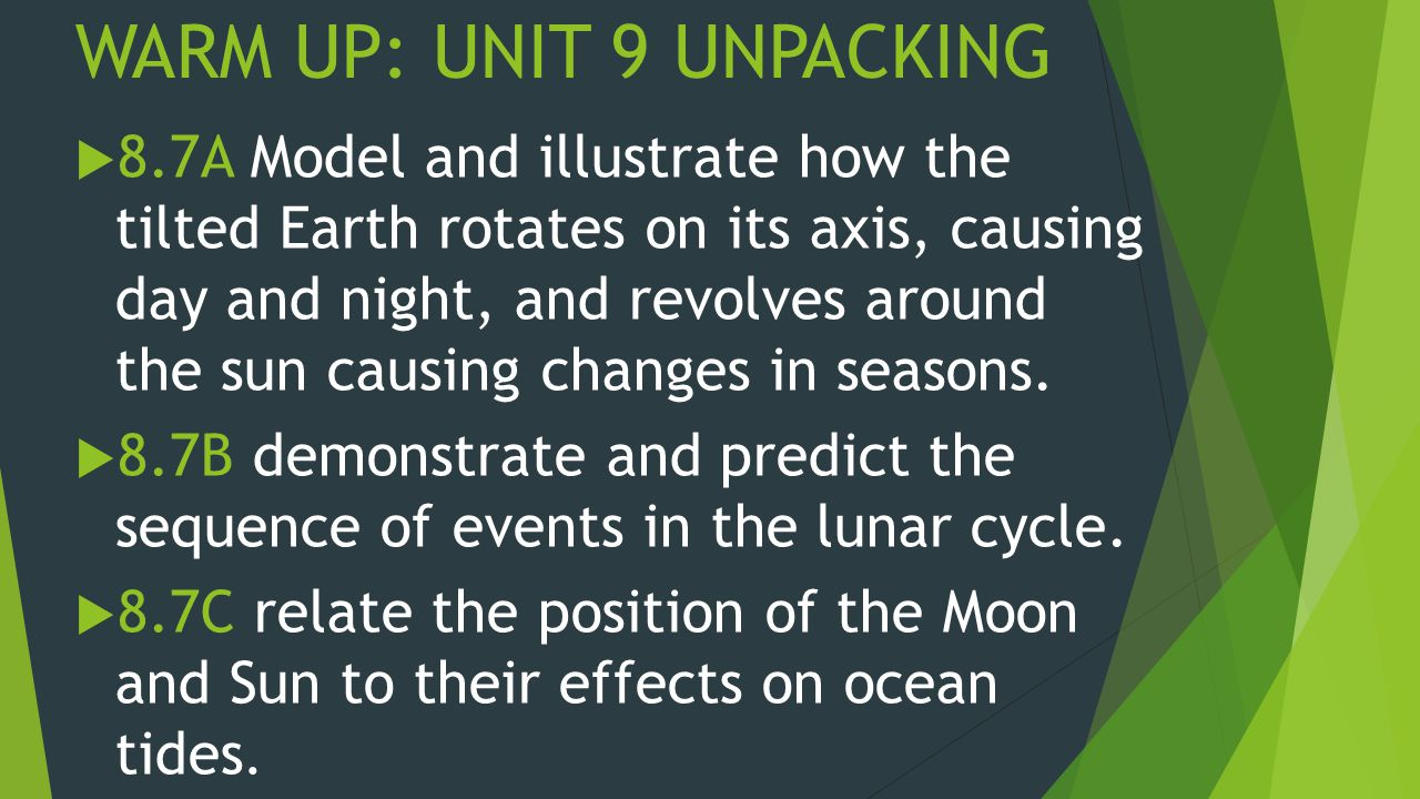 WARM UP: UNIT 9 UNPACKING  8.7A Model and illustrate how the tilted Earth rotates on its axis, causing day and night, and revolves around the sun causing changes in seasons.