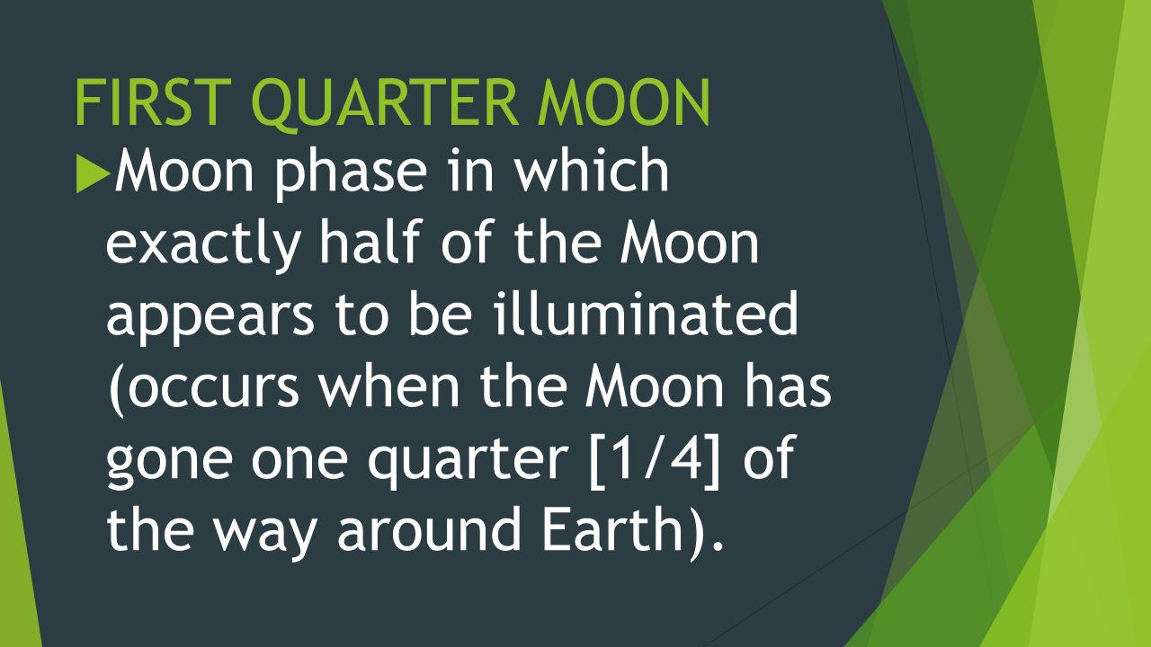 FIRST QUARTER MOON  Moon phase in which exactly half of the Moon appears to be illuminated (occurs when the Moon has gone one quarter [1/4] of the way around Earth).