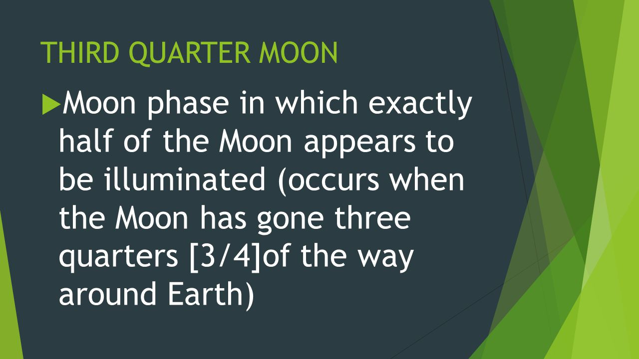 THIRD QUARTER MOON  Moon phase in which exactly half of the Moon appears to be illuminated (occurs when the Moon has gone three quarters [3/4]of the way around Earth)