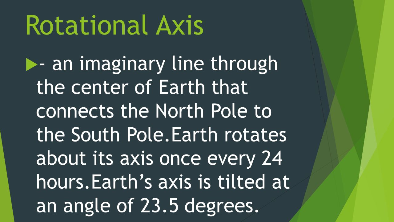 Rotational Axis  - an imaginary line through the center of Earth that connects the North Pole to the South Pole.Earth rotates about its axis once every 24 hours.Earth's axis is tilted at an angle of 23.5 degrees.