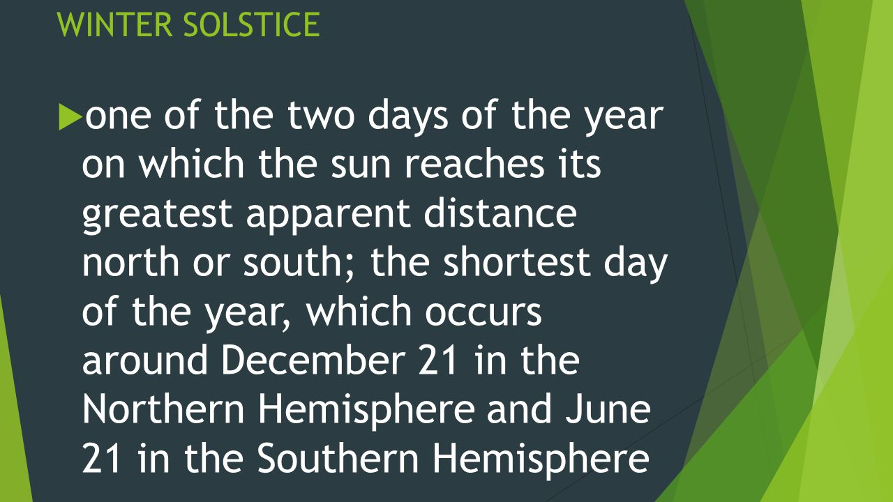 WINTER SOLSTICE  one of the two days of the year on which the sun reaches its greatest apparent distance north or south; the shortest day of the year, which occurs around December 21 in the Northern Hemisphere and June 21 in the Southern Hemisphere