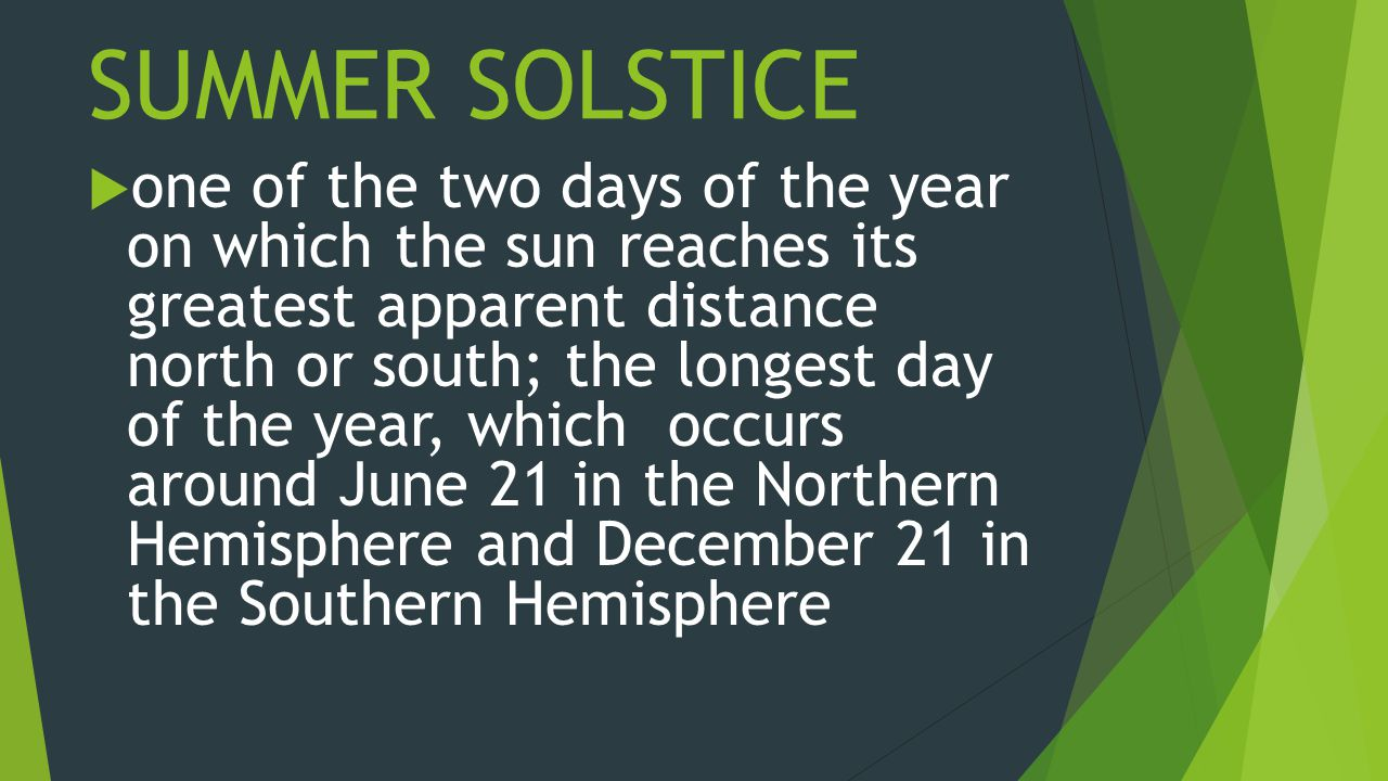 SUMMER SOLSTICE  one of the two days of the year on which the sun reaches its greatest apparent distance north or south; the longest day of the year, which occurs around June 21 in the Northern Hemisphere and December 21 in the Southern Hemisphere