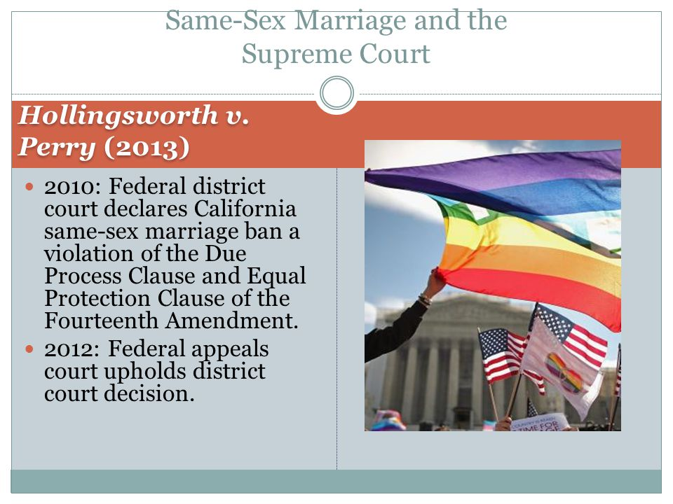 Equal protection and same sex marriage