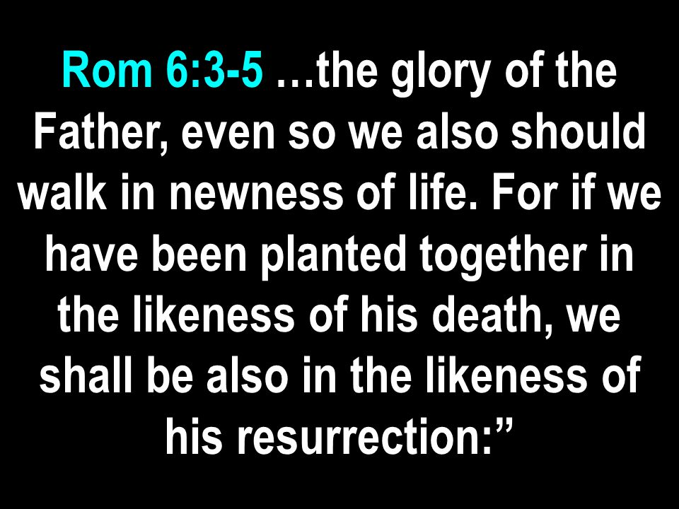 Rom 6:3-5 …the glory of the Father, even so we also should walk in newness of life.