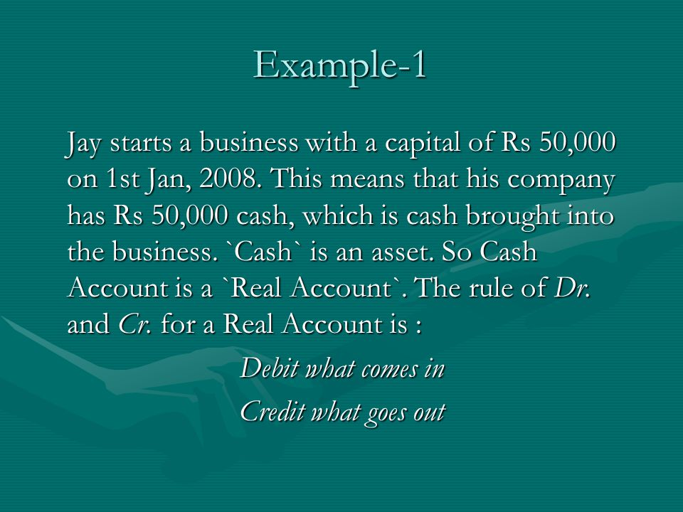 Example-1 Jay starts a business with a capital of Rs 50,000 on 1st Jan, 2008.