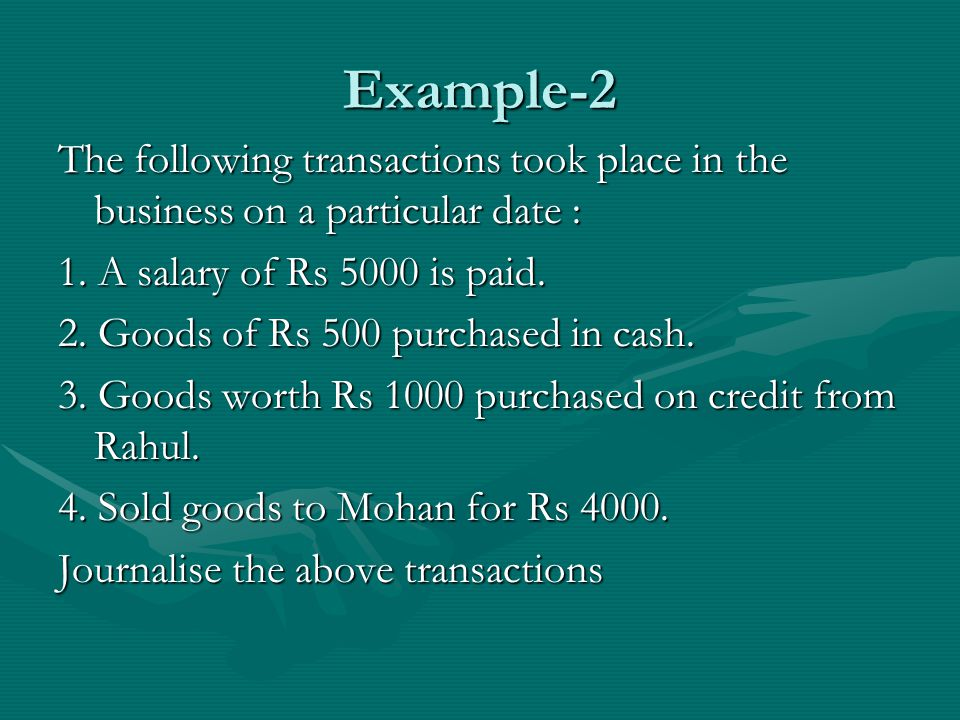 Example-2 The following transactions took place in the business on a particular date : 1.
