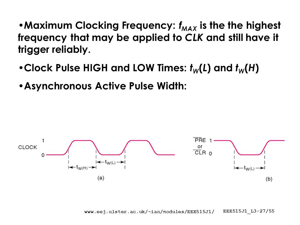 EEE515J1_L3-27/55 Maximum Clocking Frequency: f MAX is the the highest frequency that may be applied to CLK and still have it trigger reliably.