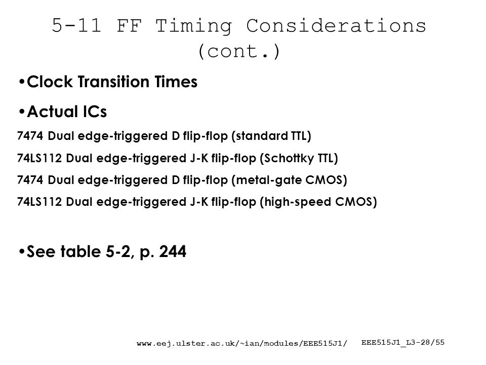 EEE515J1_L3-28/ FF Timing Considerations (cont.) Clock Transition Times Actual ICs 7474 Dual edge-triggered D flip-flop (standard TTL) 74LS112 Dual edge-triggered J-K flip-flop (Schottky TTL) 7474 Dual edge-triggered D flip-flop (metal-gate CMOS) 74LS112 Dual edge-triggered J-K flip-flop (high-speed CMOS) See table 5-2, p.