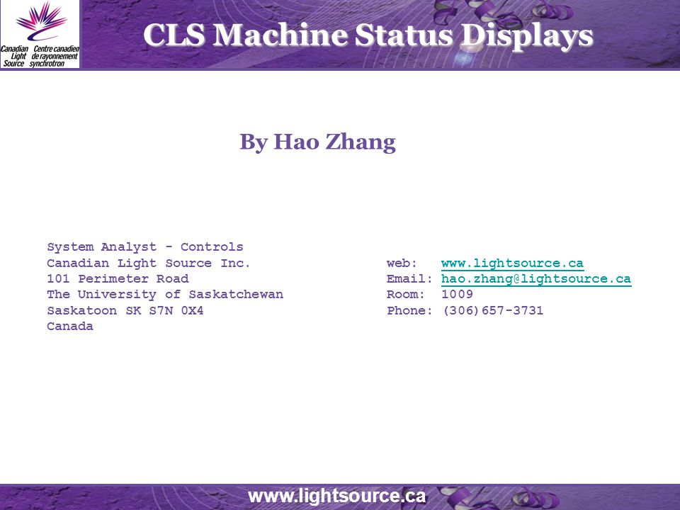 CLS Machine Status Displays System Analyst   Controls Canadian Light Source  Inc. Home Design Ideas