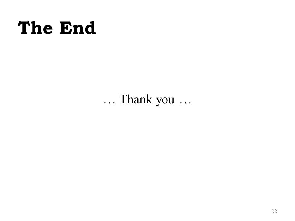 The End … Thank you … 36