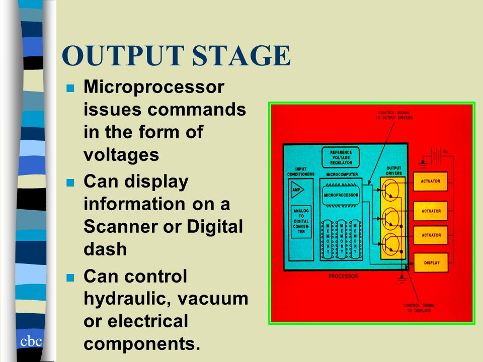cbc OUTPUT STAGE n Microprocessor issues commands in the form of voltages n Can display information on a Scanner or Digital dash n Can control hydraulic, vacuum or electrical components.