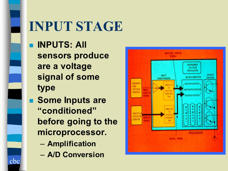 cbc INPUT STAGE n INPUTS: All sensors produce are a voltage signal of some type n Some Inputs are conditioned before going to the microprocessor.