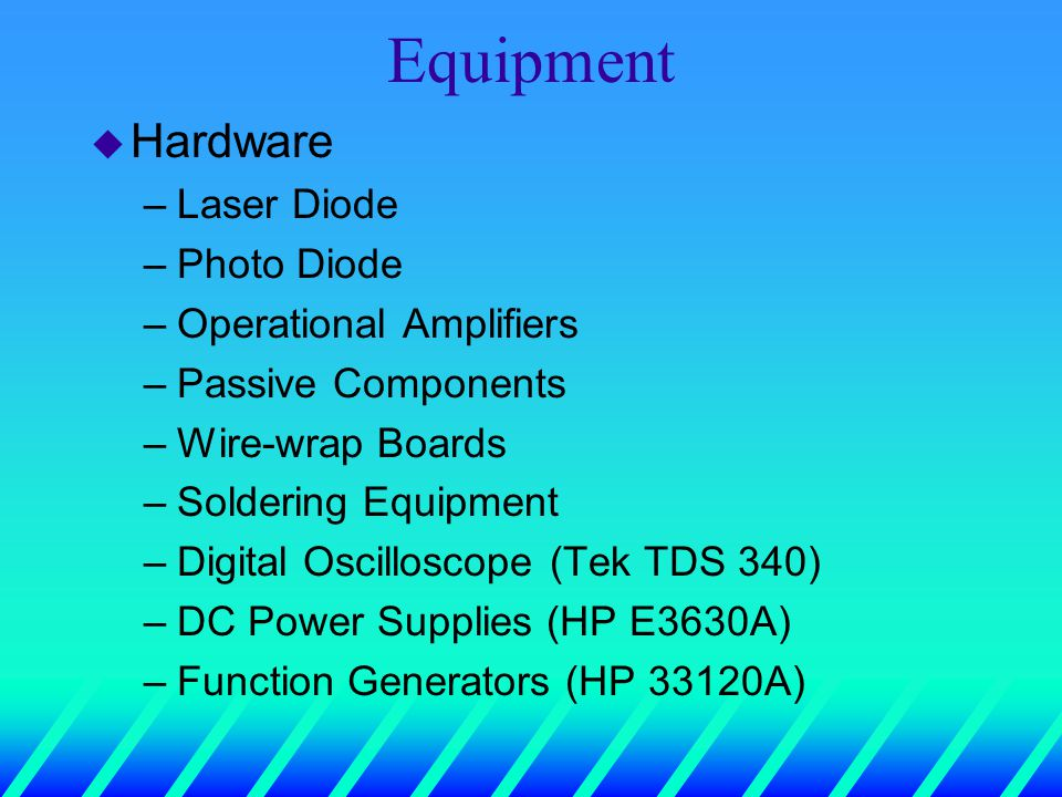 Equipment u Hardware –Laser Diode –Photo Diode –Operational Amplifiers –Passive Components –Wire-wrap Boards –Soldering Equipment –Digital Oscilloscope (Tek TDS 340) –DC Power Supplies (HP E3630A) –Function Generators (HP 33120A)
